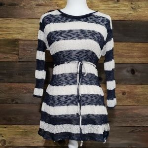 Motherhood Maternity Tie Front Striped Sweater